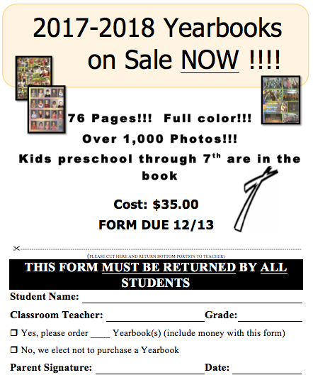 Yearbook Order Form 2017-2018