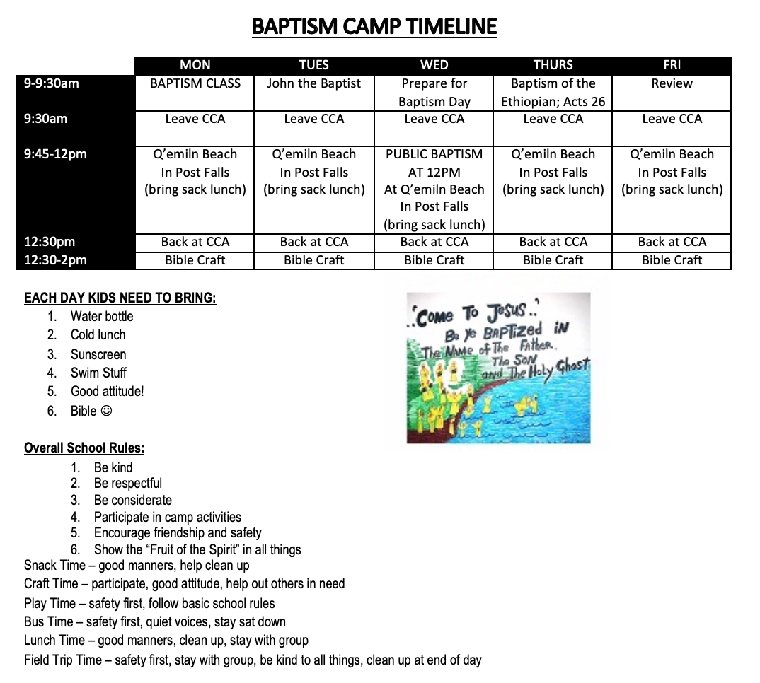 Baptism Camp Timeline - July 22-26, 2019