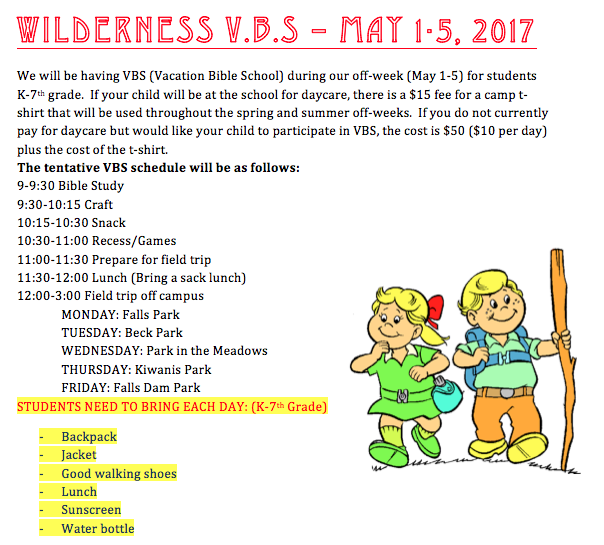 Wilderness V.B.S