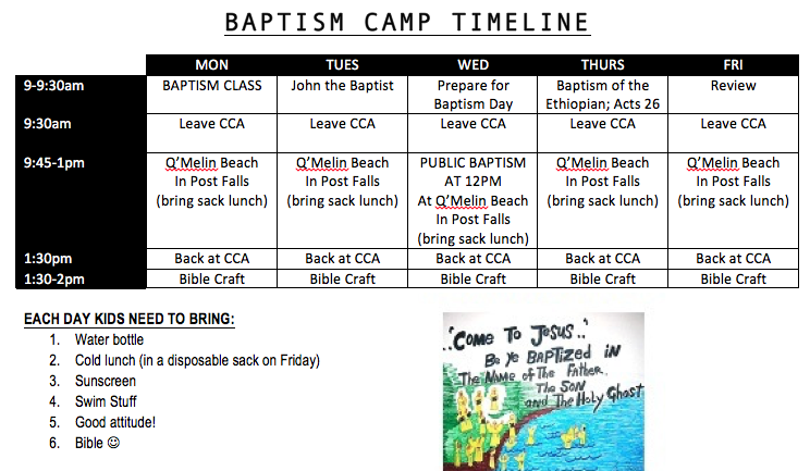 Baptism Camp Timeline - July 24-28, 2017