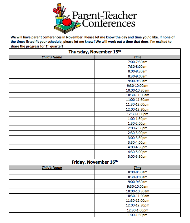 Parent Teacher Conference Sign-up
